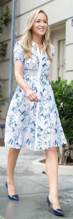 Stylist: this reminds me of Springtime    My referral code is: https://www.stitchfix.com/referral/4941482 if you like it too!   Memorandum Blue Floral Midi Shirt Dress
