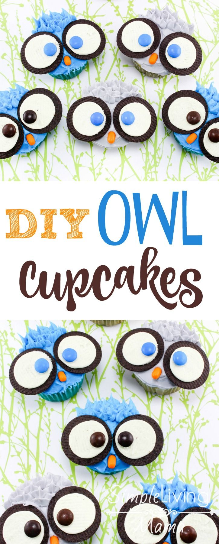 DIY Owl Cupcakes are easy to make with kids!
