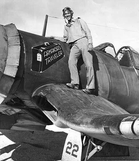 """Arkansas Traveler"" Nose art and pilot corsair"