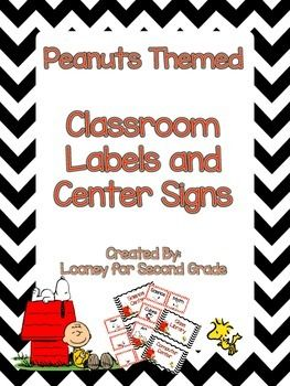 Peanuts Themed Classroom Labels and Center SignsIf you would like to customize your classroom labels and center signs please email me with contact information.