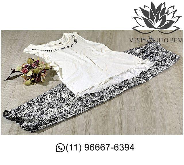 Regata com Spikes na Gola R$ 6500 (somente loja física)  Calça Pijama de Viscose R$ 5500 (somente loja física) #vestemuitobem #moda #modafeminina #modaparameninas #estilo #roupas #lookdodia #roupasfemininas #tendência #beleza #bonita #gata #linda #elegant #elegance #jardimavelino