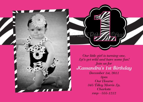 Pink and Black Zebra Print Birthday Invitation , Zebra Print Baby Invitations , Printable or Printed on Etsy, $15.00