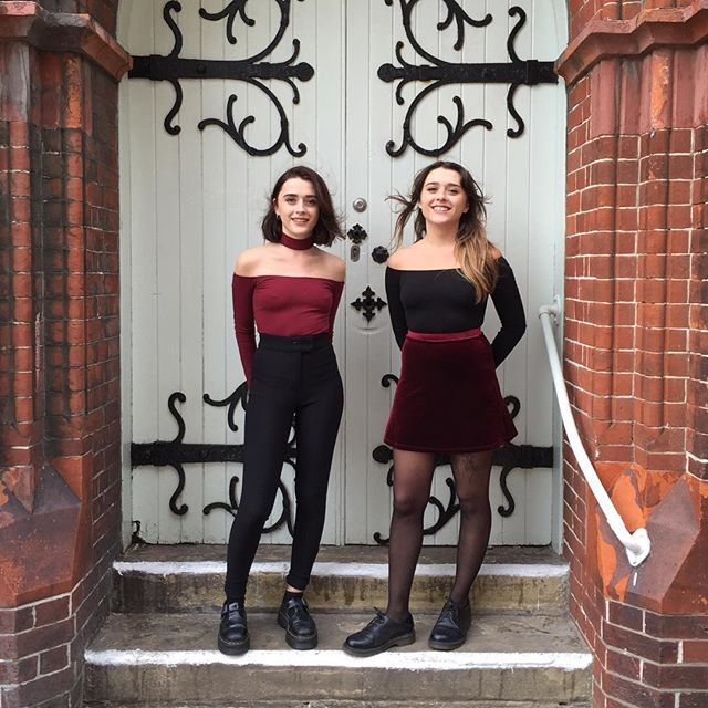 Alice and Annie from our Brighton Store in our black and burgundy styles.  #AmericanApparel #AAEmployees