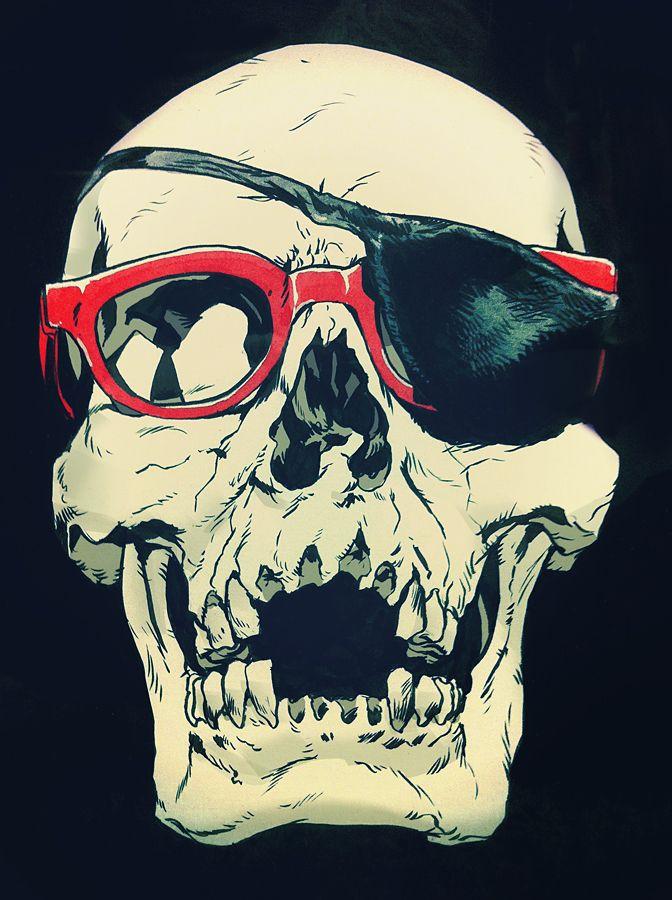 Skull in glasses & eyepatch