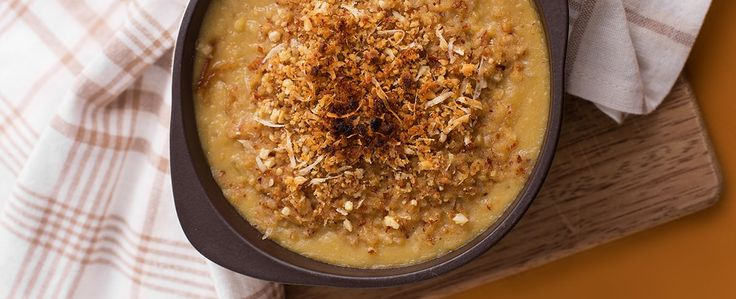 Sopa Gratinada de Grão de Bico e cebola Caramelizada