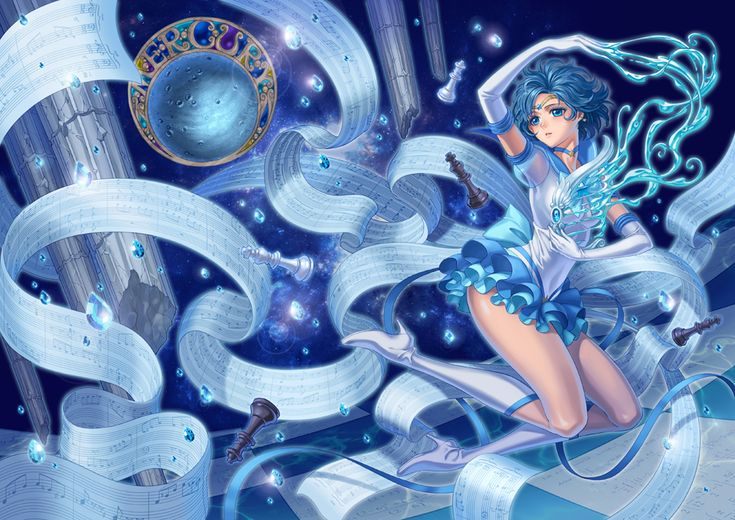 superb Sailor Mercury fanart -- I like the details, sheet music, chess pieces, and water like crystals for intellectual Ami.