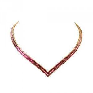 Rainbow Sapphire Double Row Tennis Necklace 18K Yellow Gold (30ct tw)