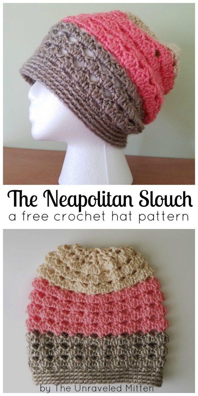 a4111242802 Neapolitan Eyelet Slouchy Hat  A Free Crochet Pattern