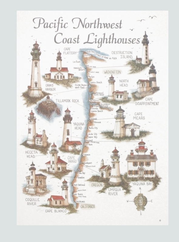 West Coast Lighthouses Map  Bev39s Studio Inc  West