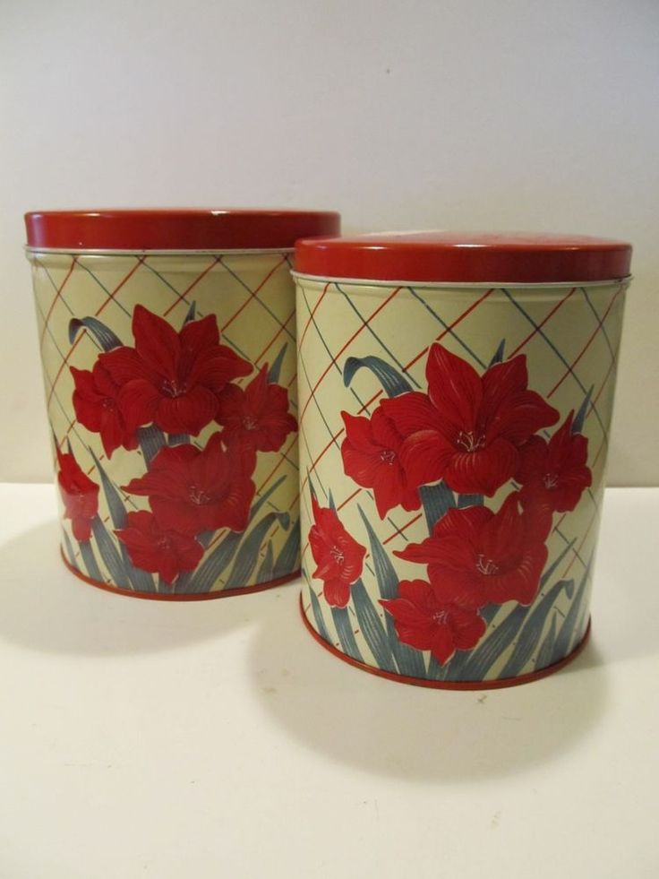 VINTAGE Tin Metal Kitchen 2 Canisters RED GLADIOLA Flowers