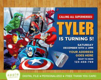 Invitación de cumpleaños de The Avengers, Vengadores invitan, invitaciones fiesta de Vengadores, superhéroes - superhéroe bricolaje Digital archivo invita - muchacho - Hulk - Ironman - Capitán América   PERSONALIZABLE!!!  PARA TODAS LAS EDADES!!   ---Las órdenes de acometida o para impresiones por favor haga clic en el enlace de abajo:---  https://www.etsy.com/shop/4MustardSeeds?section_id=15071434&ref=shopsection_leftnav_10   PARA MÁS INVITACIONES DE CUMPLEA...