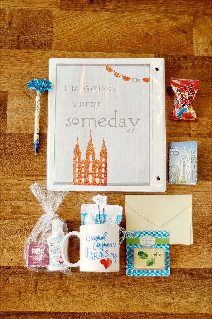 Creative LDS ideas: Crafts Ideas, Gifts Creative, Conference Baskets, Creative Lds, Diy Gifts, Handmade Gifts, Conference Ideas, Conference Packs, Baskets Super