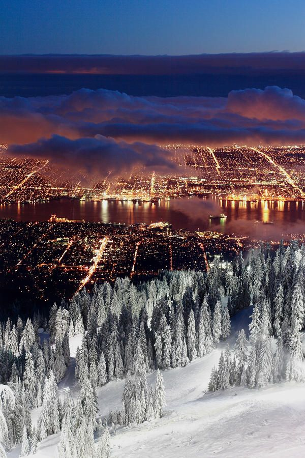 View of Vancouver from Grouse mountain at sunset