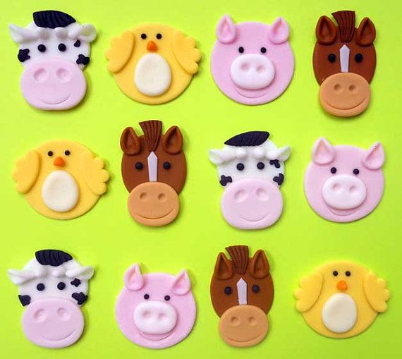 pre-made farm animal cupcake toppers