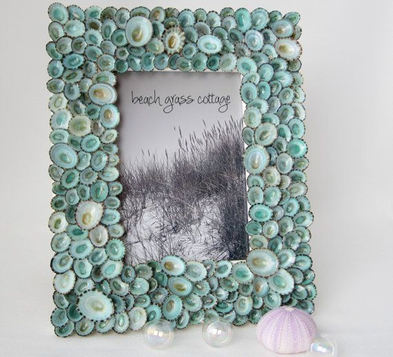 Shell Frame Beach Decor Aqua Limpet by beachgrasscottage on Etsy