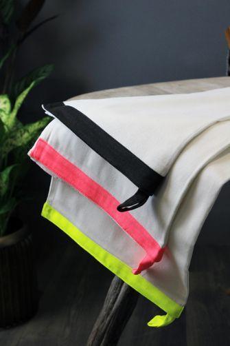 Set of 3 Colour Edged Tea Towels
