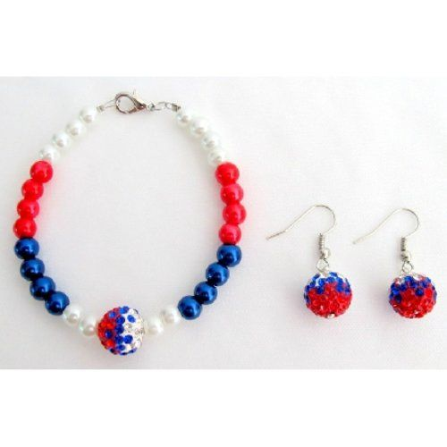 Price :$10.00 Day 4th of July Patriotic Bracelet Red Blue White Material Used : Bracelet - 6mm Red Blue White Glass Pearls with 12mm Ball. Color : Blue Red White Earrings Length : 3/4 inch Earrings Type : French Hook Nickel Free Bracelet Length : 7 1/2 inches Bracelet Type : Lobster Clasp