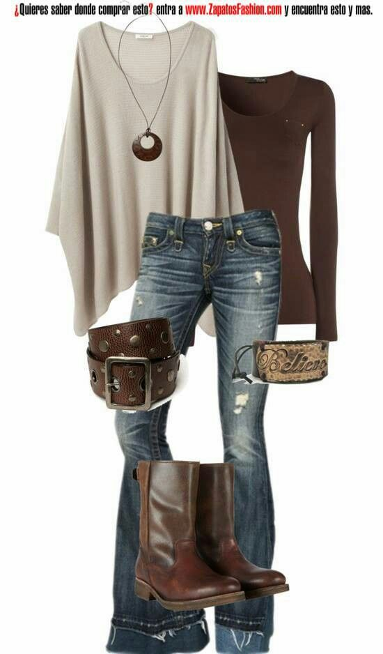 Jeans, cream poncho, chocolate, long-sleeved t-shirt, belt and ankle boots.