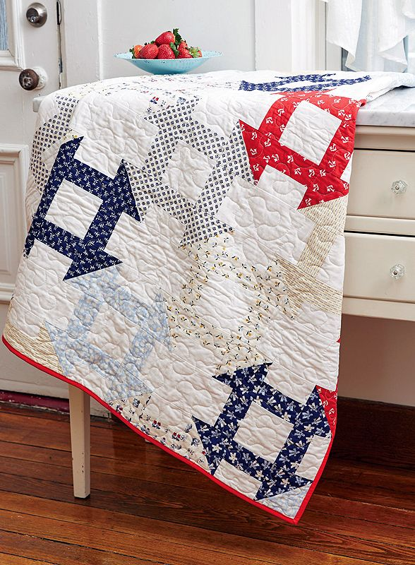 Nothing beats a good, old-fashioned Churn Dash quilt block! Dutch Dash, by Kelly Bowser, is a bit different, with each quilt block connecting with the ones surrounding it. It's a great throw quilt that you'll enjoy using and displaying in your home.