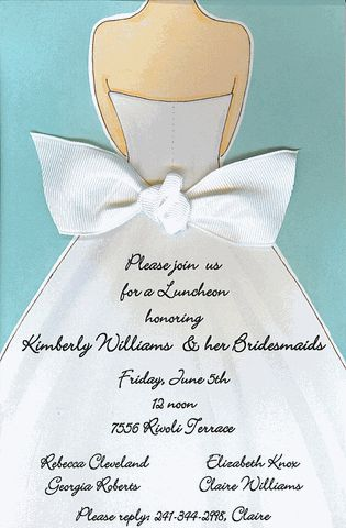 Bridal shower invitations, this would be cute for a Breakfast at Tiffany's theme.