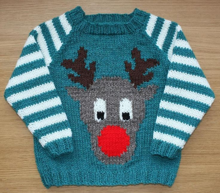 Christmas sweater knitting patterns: Rudi by Vikki Bird on LoveKnitting