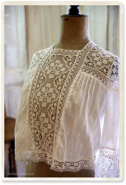 アンティークボビンレースブラウス - 【Belle Lurette】ヨーロッパ フランス アンティークレース リネン服の通販