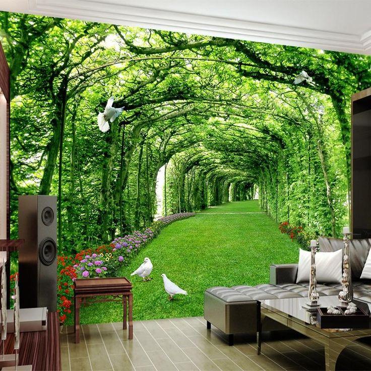 3D Wallpaper Green Forest Tree Lawn Wallpaper