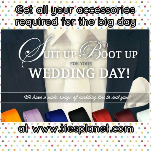 Here at www.tiesplanet.com we like nothing more than to help be a part of your big day of #celebrations ! Of course we're talking about #weddings -with lots of colours to choose from in both #microfibre & #silk options you're bound to find #ties , #Handkerchiefs , #cravats or even #BowTies to get you picture perfect for the ceremony of #marriage ! In most cases we can even colour match to a #dress or swatch of fabric in order to ensure that both #Bride & #Groom , #MaidOfHonour & #BestMan and…