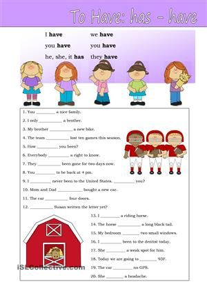 """A practise sheet for beginners. The verb """"to have"""". - ESL worksheets"""