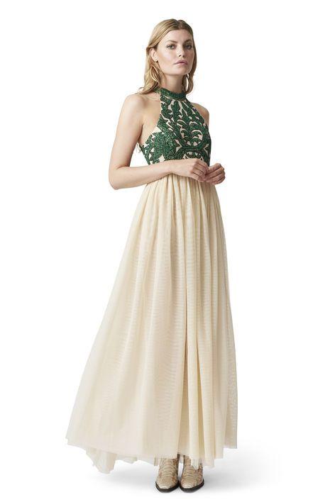 Gulvlang kjole i tynd mesh fuldendt med en  perlebroderet overdel og en smuk plisseret  underdel. <br /><br />Modellen er 175cm høj og iført en  størrelse small/ 36.