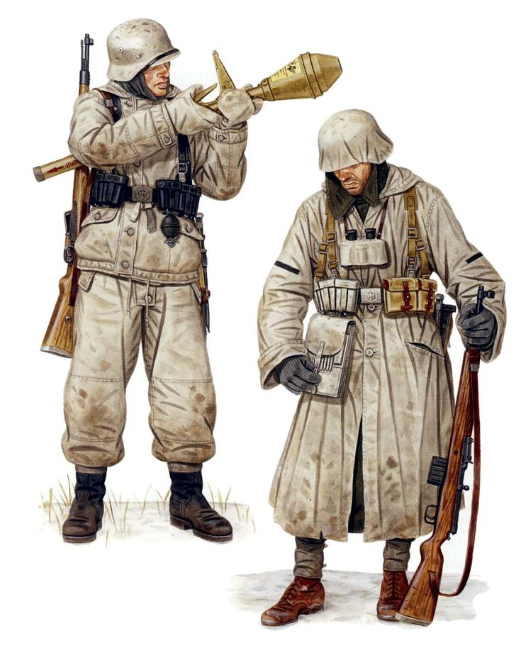 Soldados alemanes con camuflaje de nieve provistos del devastador Panzerfaust, la Eiergranate (granada de huevo) M-1939, el fusil Gewehr 41, binoculares 6x30 y portaplanos. Stephen Andrew. http://www.elgrancapitan.org/foro/viewtopic.php?f=12&t=17519&p=918577#p918577