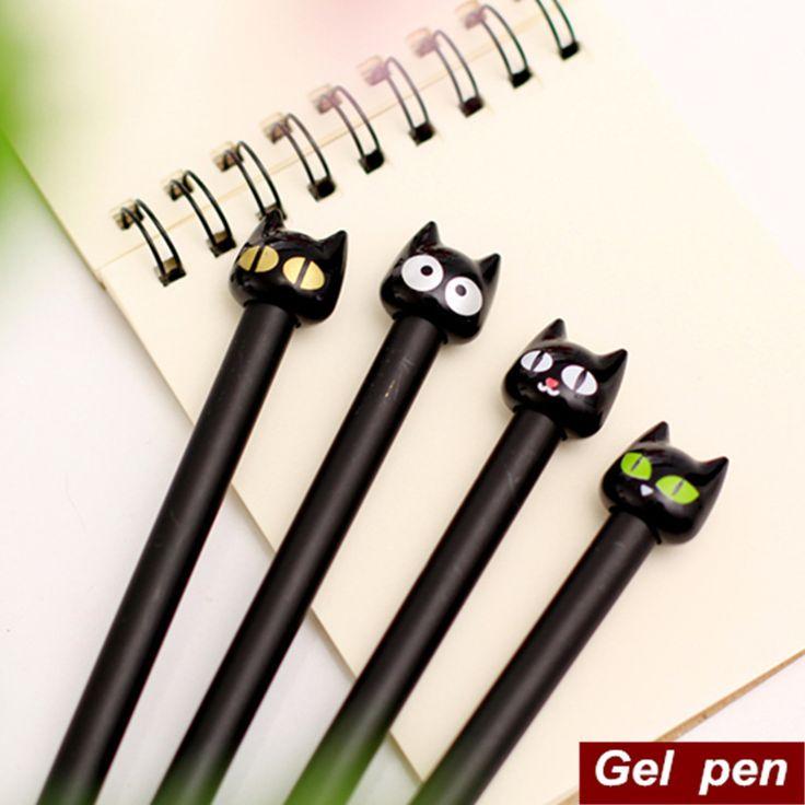 8 pçs/lote do gato preto caneta Gel Canetas de papelaria Kawaii bonito Canetas escola escritório material escolar 6548 em Canetas gel de Escritório & material escolar no AliExpress.com   Alibaba Group