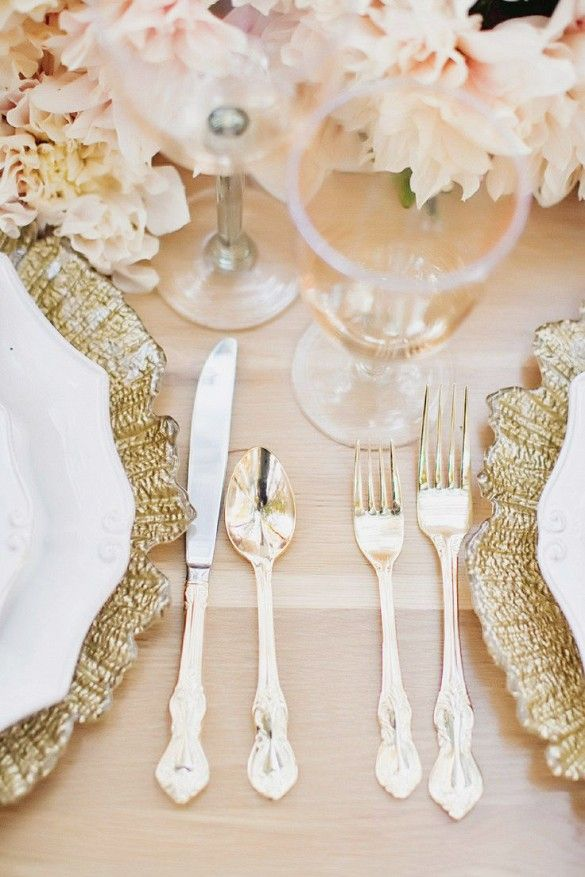 Pale pink and gold table setting