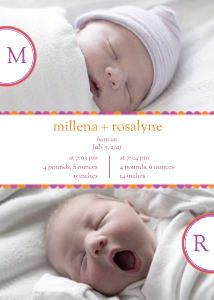 Mixbook Scalloped Band Twins Birth Announcements