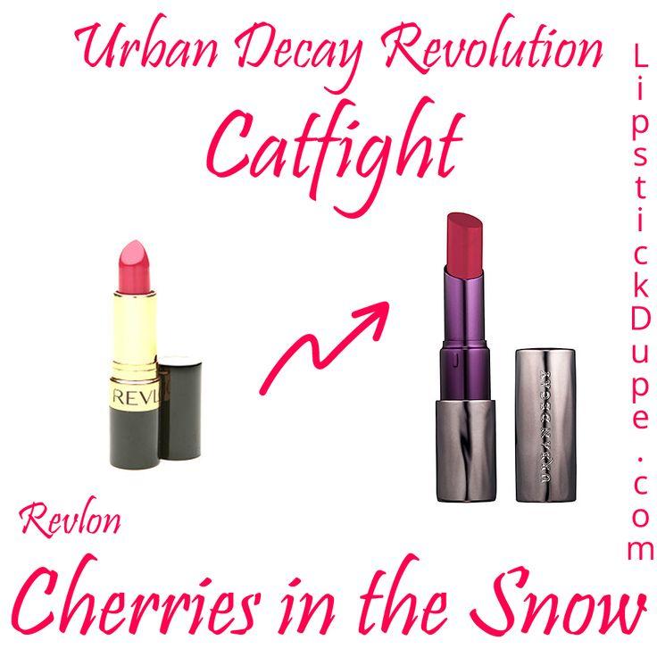 Urban Decay Revolution Lipstick Catfight Dupe Revlon Cherries in the Snow