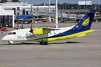SkyWork Airlines Dornier 328-110 HB-AEO aircraft, skating at Germany Munich Franz Josef Strauss International Airport. 08/08/2016.