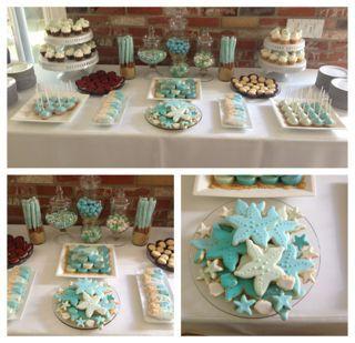Beach themed wedding dessert table