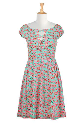 I <3 this Flamingo print bow front knit dress from eShakti