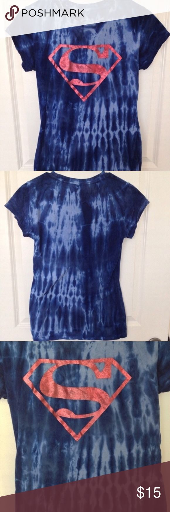 Tie-Dye Superman Shirt I DON'T SWAP/TRADE SO PLEASE DON'T ASK Size L 100% cotton  Very stretchy  Never worn No damages Tops Tees - Short Sleeve