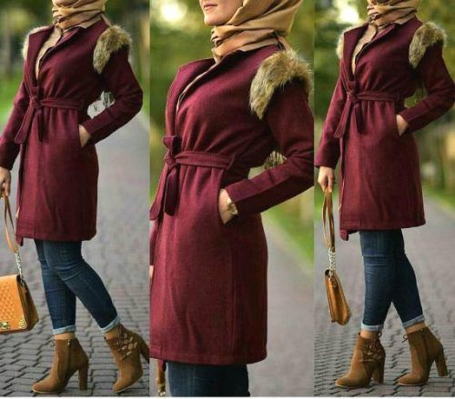 maroon-coat-with-fur-hijab-look- Winter hijab trends http://www.justtrendygirls.com/winter-hijab-trends/