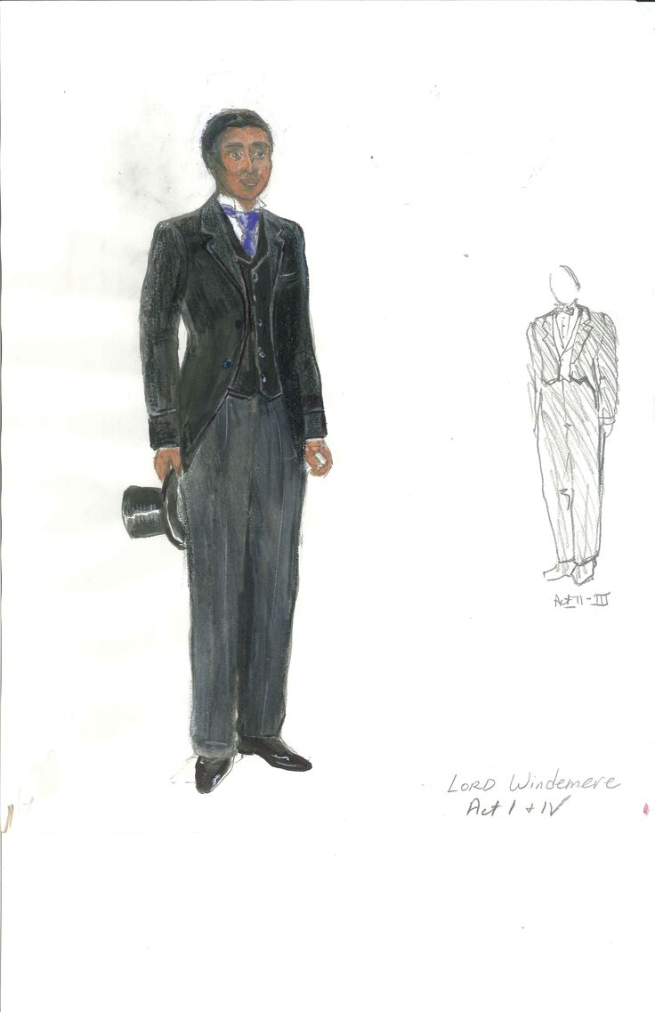 Meg Neville's costume sketch of Lord Windermere, Act 1