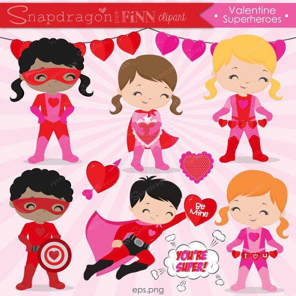 Buy5get5 Valentine Superhero Clipart Valentine Clipart Etsy Superhero Clipart Valentine Clipart Clip Art