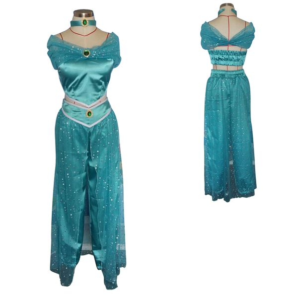 Aladdin and His Wonderful Lamp Princess Jasmine Cosplay Costume Blue Halloween Partywear----Wonderful product with High quality and fast shipment. Perfect for Halloween and cosplay party!