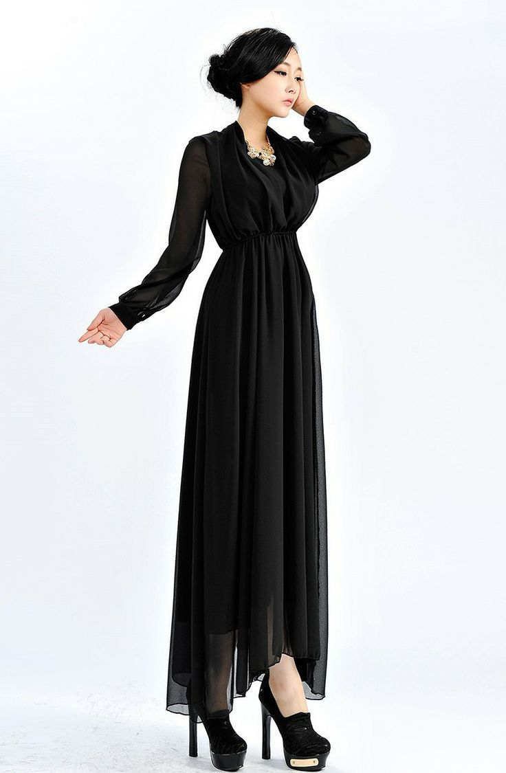 Sleeved Chffon Black Maxi | Favourite Plain | Love how the belt isnt at the waist, but much higher | tags: hijab, hijab style, hijab fashion