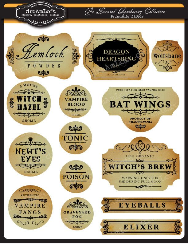 The Haunted Apothecary Frames and Labels for Personal and Commercial Use. $2.50, via Etsy.