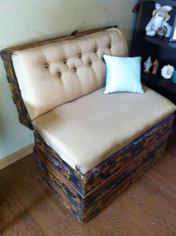 Vintage Trunk Bench Seat by lorialberti on Etsy, $275.00.