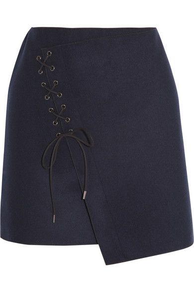 VANESSA BRUNO Lace-up wool-blend felt skirt