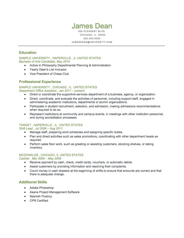 example of a student level reverse chronological resume more resources at http