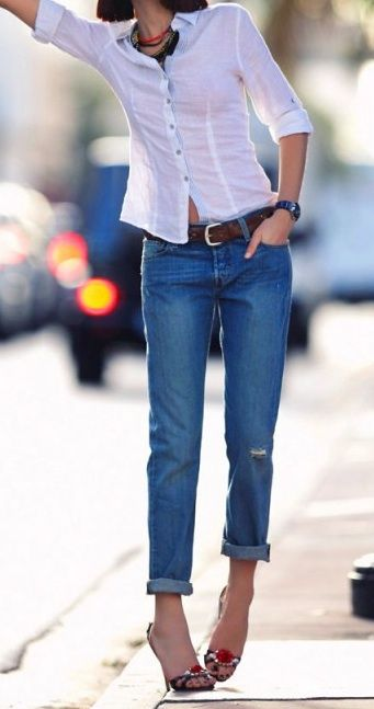 Casual button ups + boyfriend jeans.: Denim Style, Boyfriend Jeans Heels, White Shirts, Design Style Colors, Hot Heels, Casual Buttons, Boyfriends Jeans Anyon, I Boyfriends Jeans, Boyfriends Jeans Heels