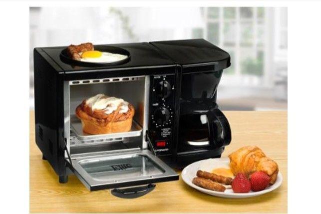 Elite Cuisine 3-in-1 Breakfast Center Black Oven Toaster Coffee Maker Egg Fryer #Elite